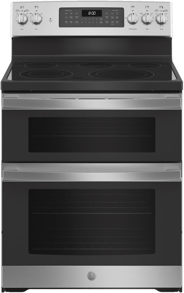 """GE® 30"""" Stainless Steel Free Standing Electric Double Oven Convection Range-JBS86SPSS"""