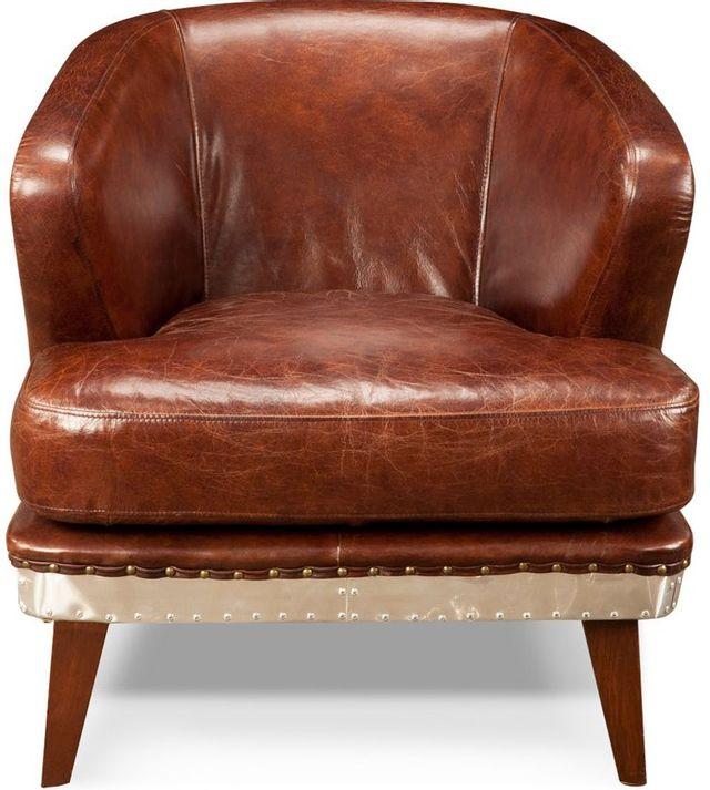 Fauteuil club Preston en cuir brun Moe's Home Collections®-PK-1017-20