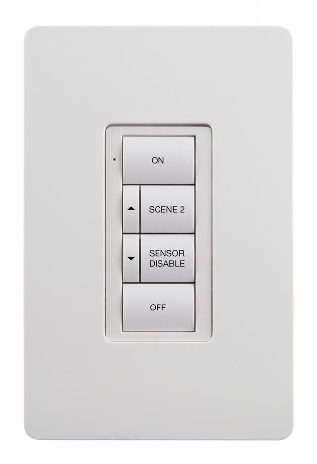 Crestron® Zum™ Battery-Powered Wireless 6 Button Keypad-White-ZUMMESH-KP10DBATT-W-S