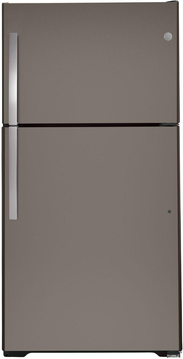 GE® 21.9 Cu. Ft. Slate Top Freezer Refrigerator-GTE22JMNRES