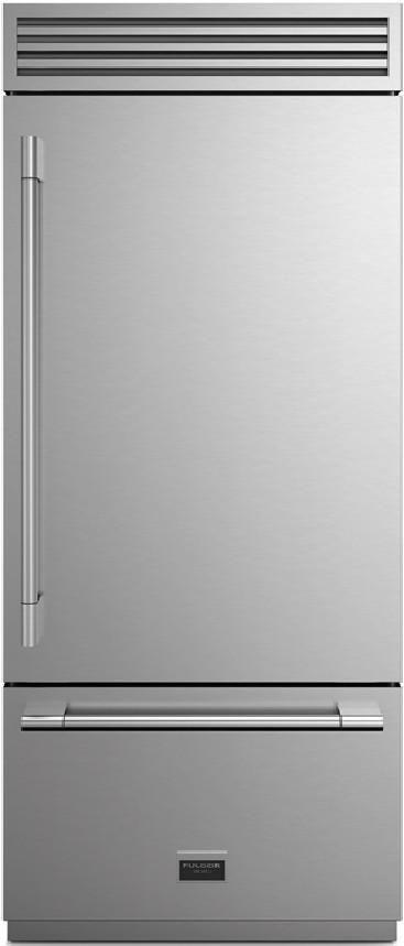 Fulgor Milano Sofia 18.5 Cu. Ft. Stainless Steel Professional Built In Bottom Freezer Refrigerator-F7PBM36S1-R