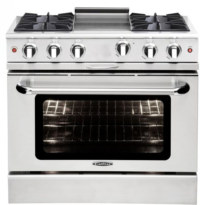 """Capital Culinarian 36"""" Stainless Steel Free Standing Gas Range-MCOR364GN"""