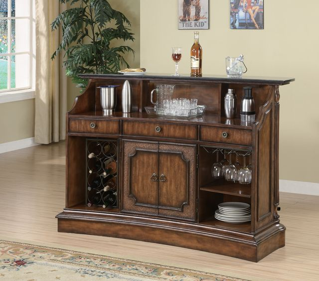 Coaster® CoasterElevations Warm Brown Marble Top 3-Drawer Bar Unit-100173
