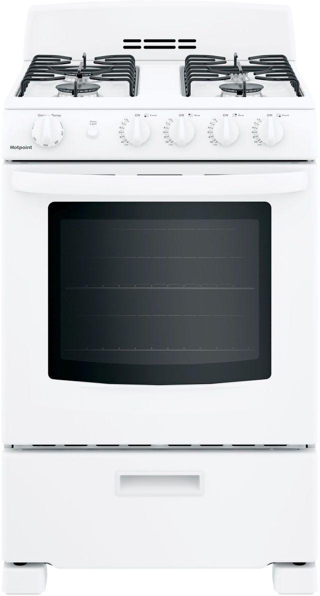"Hotpoint® 24"" White Free Standing Gas Range-RGAS300DMWW"