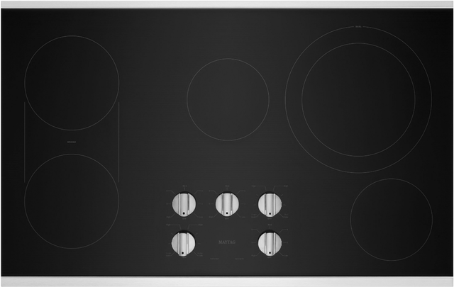 """Maytag® 37"""" Stainless Steel Electric Cooktop-MEC8836HS"""