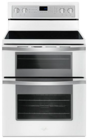 """Whirlpool® 30"""" Free Standing Double Oven Electric Range-White Ice-WGE745C0FH"""