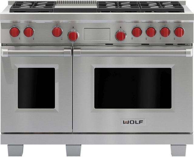 """Wolf® 48"""" Pro Style Dual Fuel Range-Stainless Steel-DF486G"""