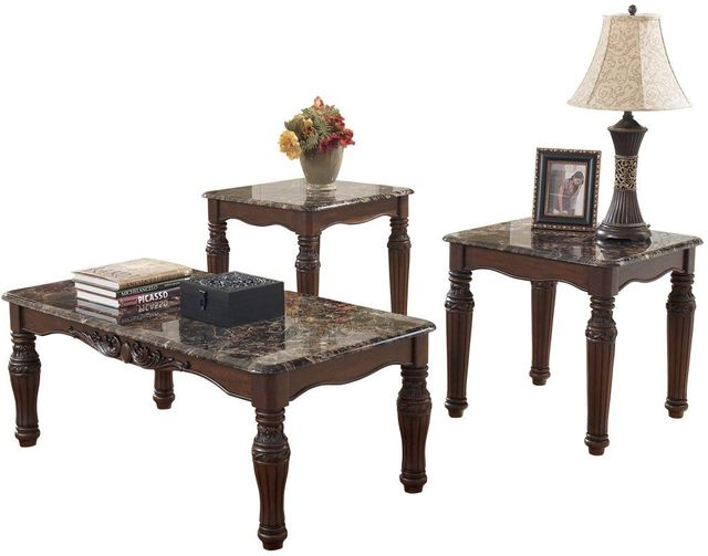 Signature Design by Ashley® North Shore 3 Piece Dark Brown Occasional Table Set-T533-13