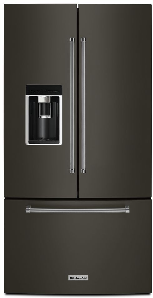 KitchenAid® 23.8 Cu. Ft. Black Stainless Steel with PrintShield™ Finish Counter Depth French Door Refrigerator-KRFC704FBS