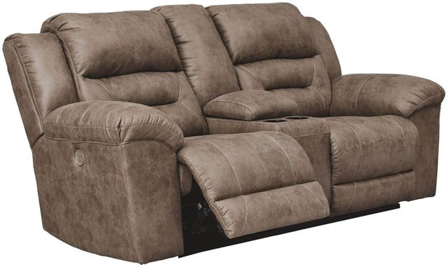 Signature Design by Ashley® Stoneland Fossil Double Reclining Power Loveseat with Console-3990596