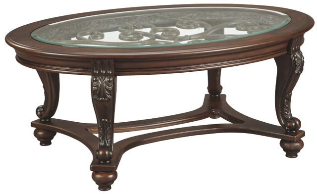 Signature Design by Ashley® Norcastle Dark Brown Oval Coffee Table-T499-0