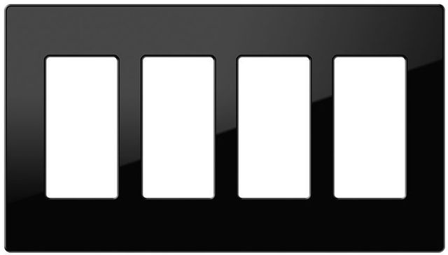 Crestron® Decorator Style 4-Gang Faceplate-Black Smooth-FP-G4-B-S