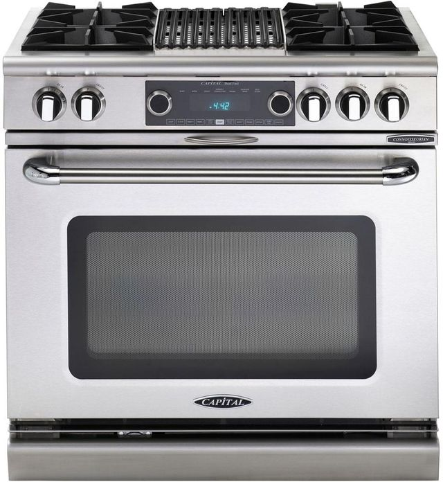"""Capital Connoisseurian 36"""" Stainless Steel Free Standing Dual Fuel Range-COB362B2N"""