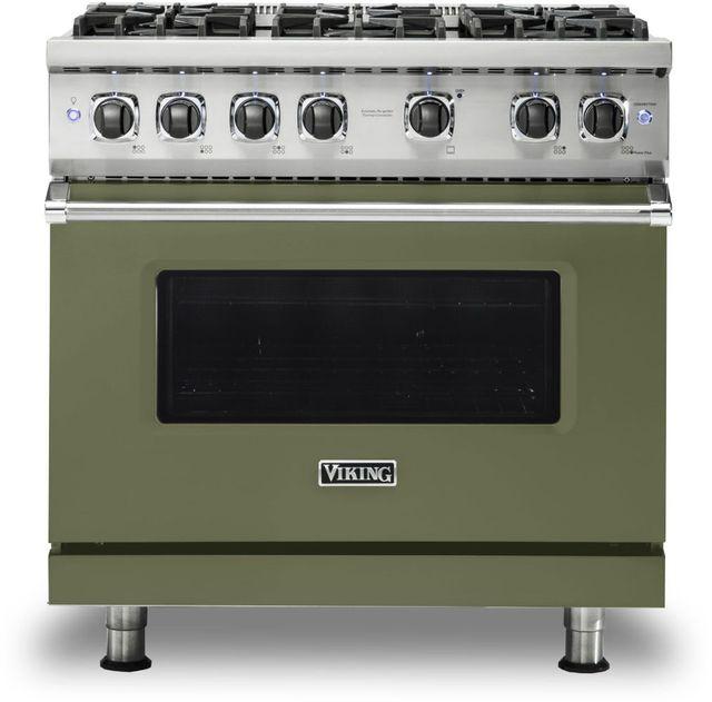 "Viking® 5 Series 36"" Cypress Green Pro Style Natural Gas Range-VGR5366BCY"