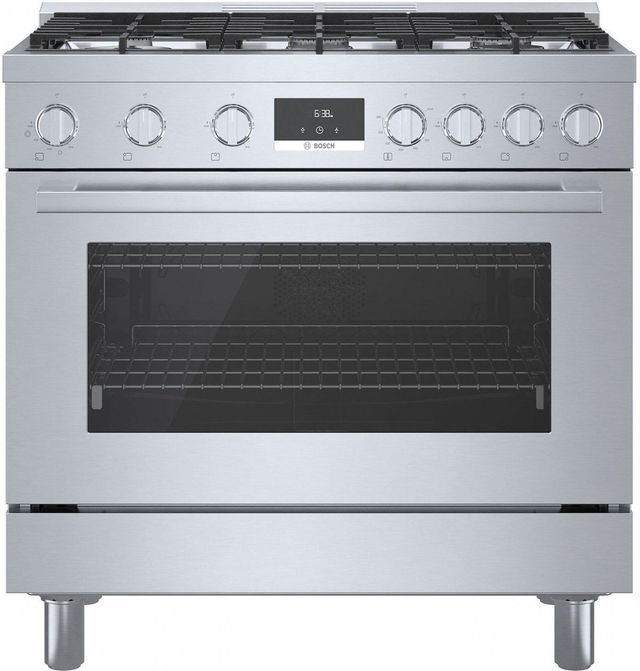 """Bosch 800 Series 35"""" Stainless Steel Industrial Style Natural Gas Range-HGS8655UC"""
