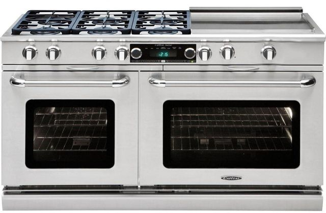 """Capital Connoisseurian 60"""" Stainless Steel Free Standing Dual Fuel Range-CSB606GGN"""