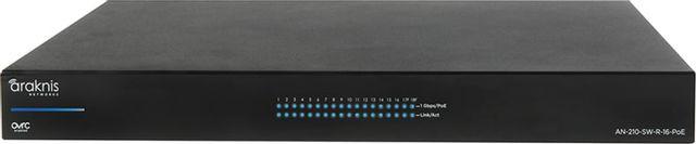 SnapAV Araknis Networks® 210 Series Black 16+2 Rear Ports Websmart Gigabit Switch with Partial PoE+-AN-210-SW-R-16-POE