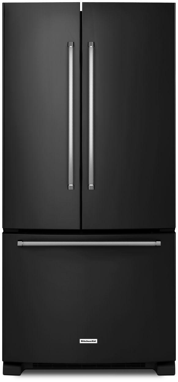 KitchenAid® 22.11 Cu. Ft. Black French Door Refrigerator-KRFF302EBL