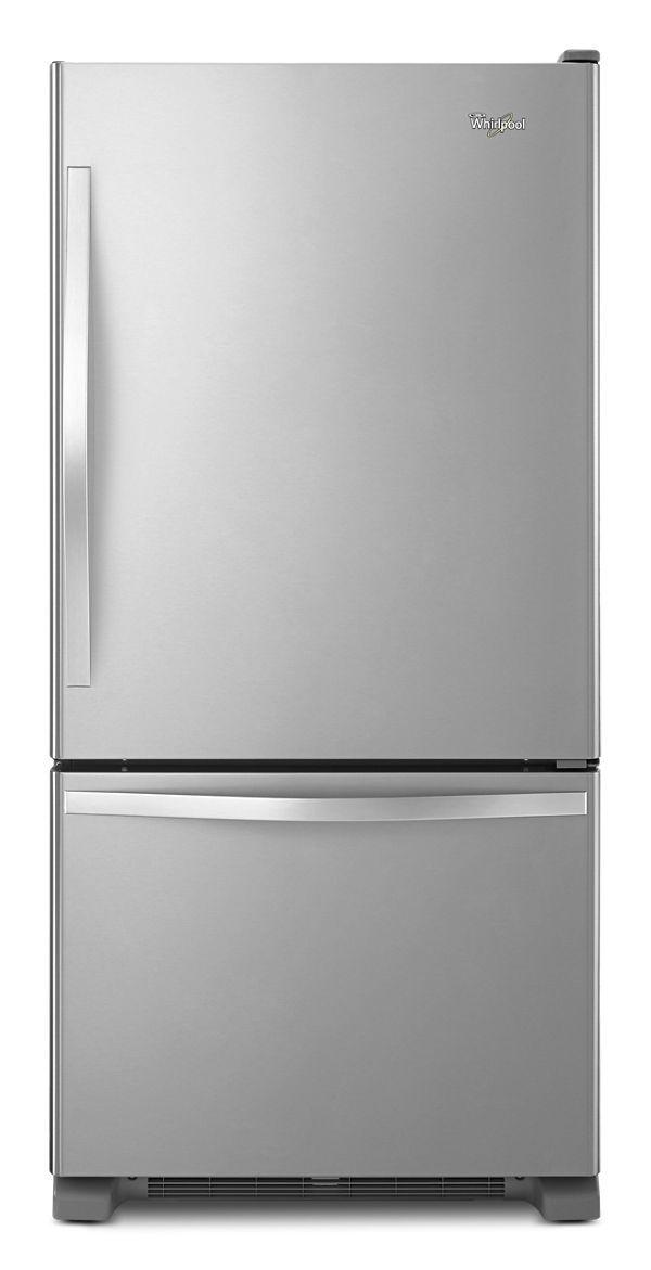 Whirlpool® 19 Cu. Ft. Monochromatic Stainless Steel Bottom Freezer Refrigerator-WRB329RFBM