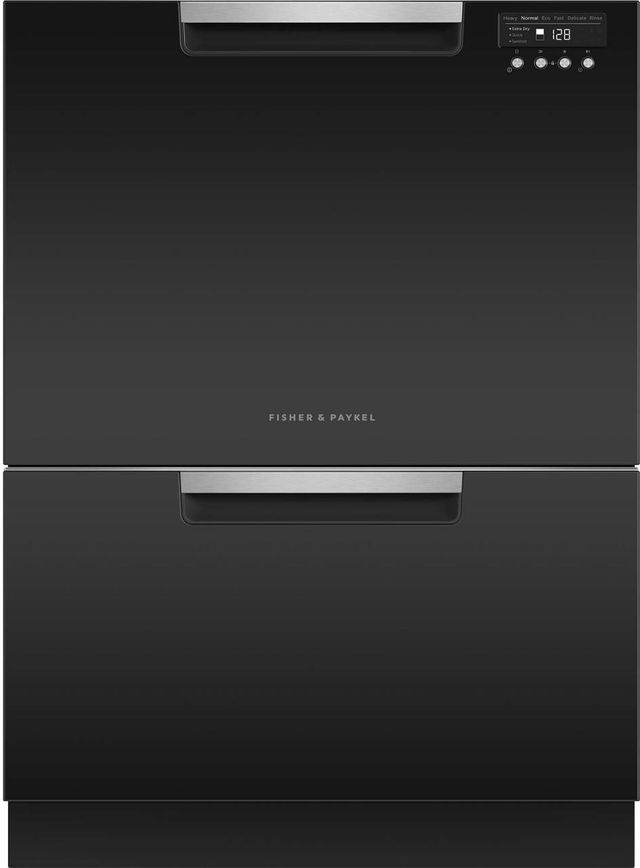 """Fisher & Paykel Series 7 24"""" Black with Stainless Steel Double DishDrawer™ Dishwasher-DD24DCTB9 N"""