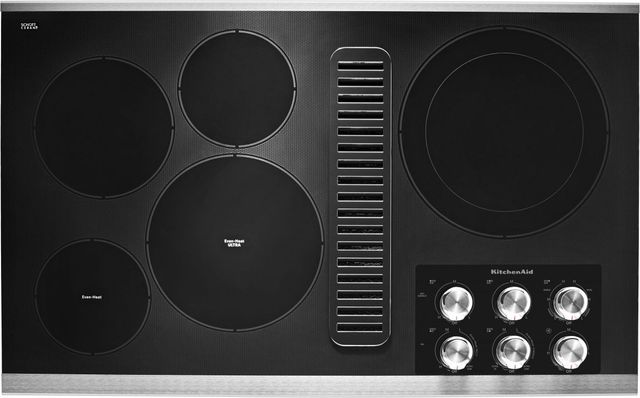 """KitchenAid® 37"""" Stainless Steel Electric Downdraft Cooktop-KCED606GSS"""