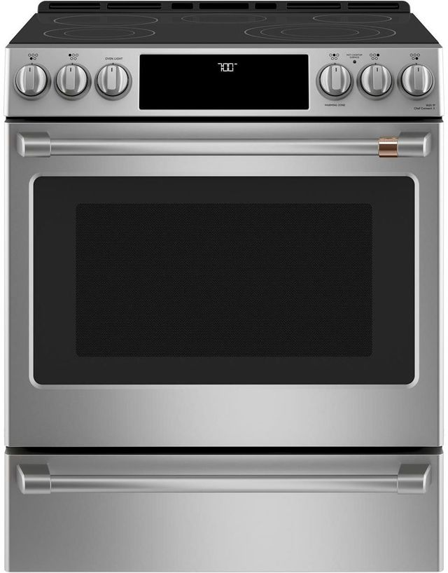 """Café™ 30"""" Stainless Steel Slide in Electric Range-CES700P2MS1"""