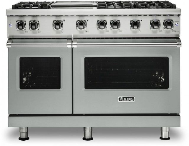 "Viking® 5 Series 48"" Arctic Grey Pro Style Liquid Propane Gas Range with 12"" Griddle-VGR5486GAGLP"