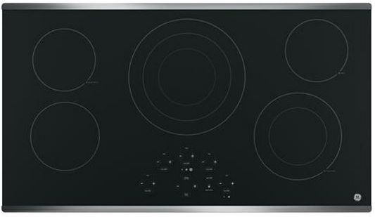 """GE® 36"""" Electric Cooktop-Stainless Steel on Black-JP5036SJSS"""