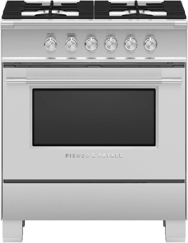 """Fisher & Paykel 30"""" Brushed Stainless Steel with Black Glass Free Standing Gas Range-OR30SCG4X1"""