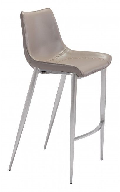 Zuo® Magnus Gray and Silver Set of 2 Bar Chairs-101274
