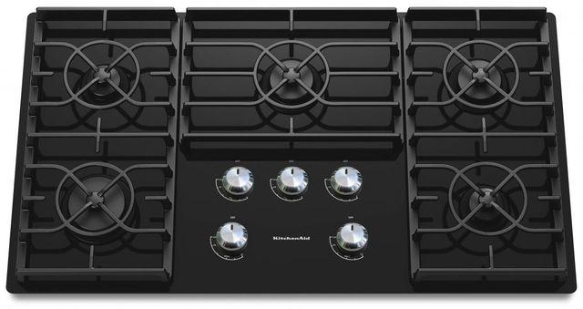 "KitchenAid® Architect® Series II 37"" Black Gas Cooktop-KGCC566RBL"