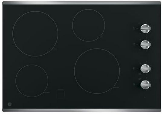 """GE® 30"""" Electronic Cooktop-Stainless Steel on Black-JP3030SJSS"""