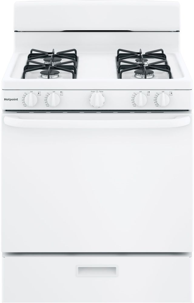 """Hotpoint® 30"""" White Free Standing Gas Range-RGBS300DMWW"""