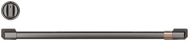 Café™ Brushed Black Front Control Induction Knobs and Handle Kit-CXFCHHKPMBT