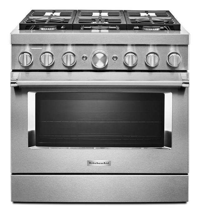 """KitchenAid® 36"""" Stainless Steel Commercial Style Freestanding Dual Fuel Range-KFDC506JSS"""