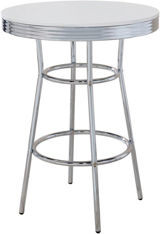 Coaster® Retro White and Silver Bar Table-2300
