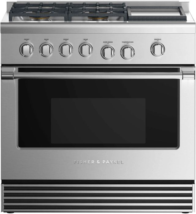 """Fisher & Paykel 36"""" Pro Style Gas Range-Stainless Steel-RGV2-364GDL N"""