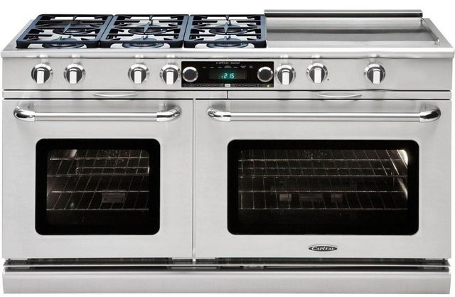 """Capital Connoisseurian 60"""" Stainless Steel Free Standing Dual Fuel Range-CSB606GGL"""