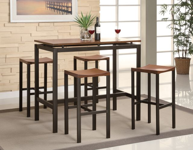 Coaster® Atlus 5-Piece Black And Brown Counter Height Dining Table Set-150097