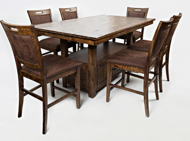 Jofran Inc. Cannon Valley Table and Chair Set-1511-72B-72T-6xBS380KD