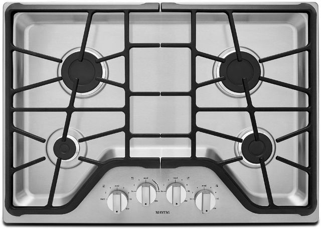 """Maytag® 30"""" Stainless Steel Gas Cooktop-MGC7430DS"""