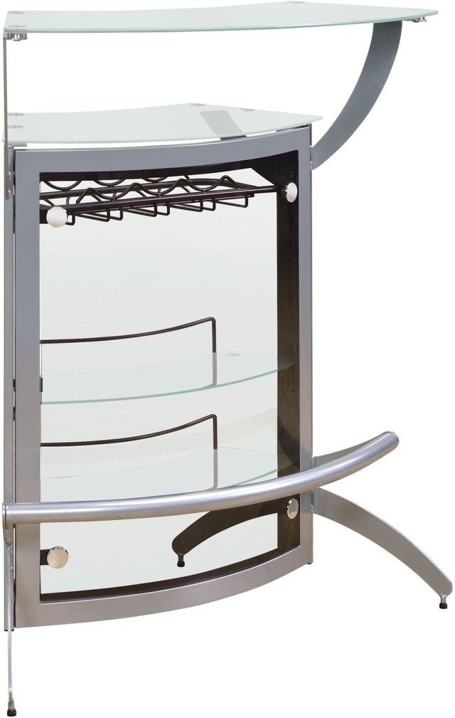 Coaster® CoasterEssence Silver And Frosted Glass 2-Shelf Bar Unit-100135