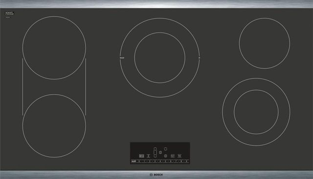 """Bosch 800 Series 36"""" Electric Cooktop-Black with Stainless Steel Frame-NET8668SUC"""