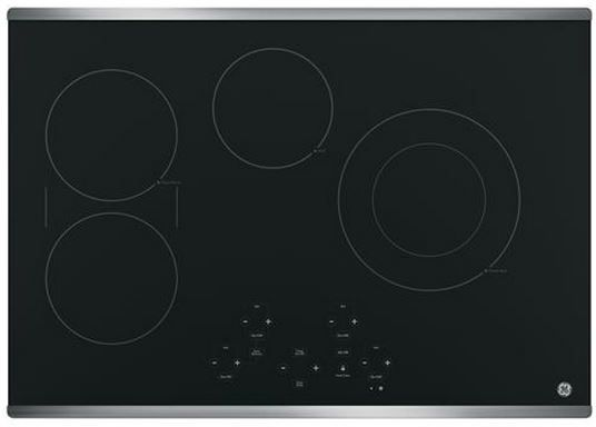 """GE® 30"""" Electric Cooktop-Stainless Steel on Black-JP5030SJSS"""