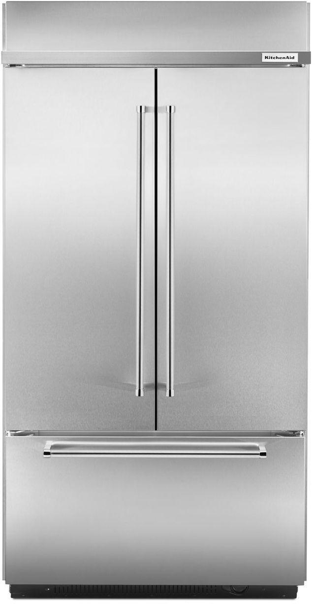KitchenAid® 24.17 Cu. Ft. Stainless Steel Built In French Door Refrigerator-KBFN502ESS