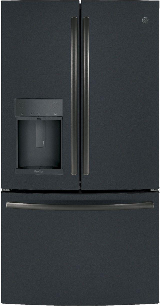 GE Profile™ 22.23 Cu. Ft. Black Slate Counter Depth French Door Refrigerator-PYE22KELDS