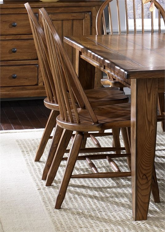 Liberty Furniture Treasures Rustic Oak Bow Back Side Chair-Black-17-C2050