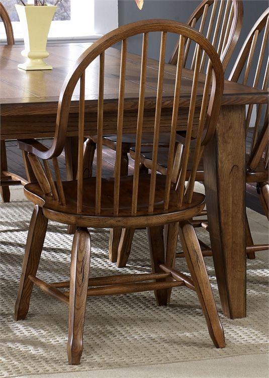 Liberty Furniture Treasures Rustic Oak Bow Back Side Chair-Black-17-C2051