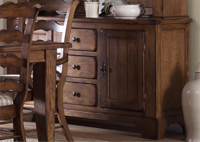 Liberty Furniture Treasures Rustic Oak Bow Back Side Chair-Black-17-CB6285