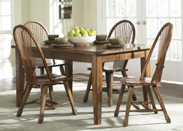 Liberty Furniture Treasures Rustic Oak Bow Back Side Chair-Black-17-T3660